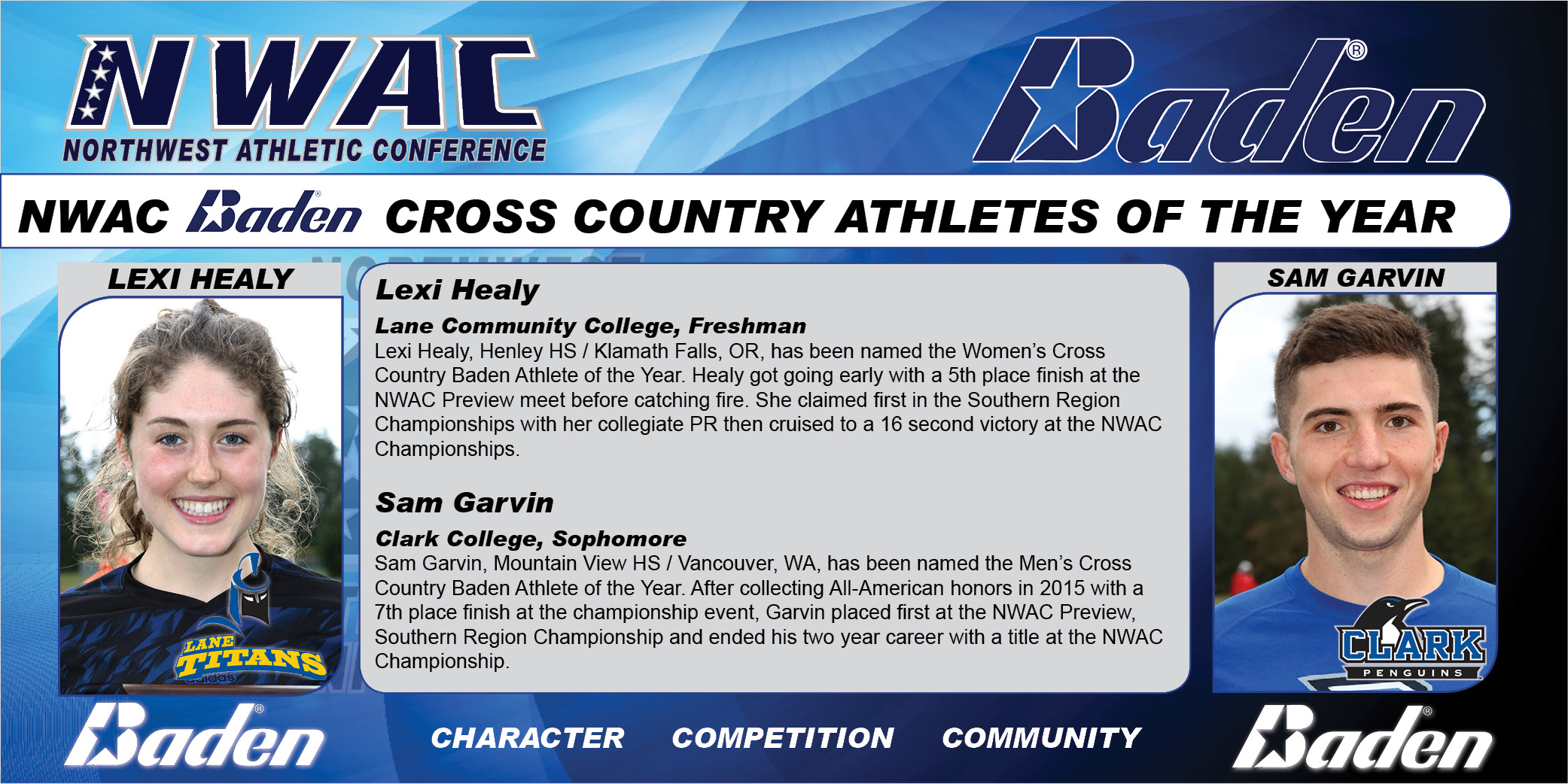 Lexu Healy and Sam Garvin Baden Cross Country Athletes  of the Year