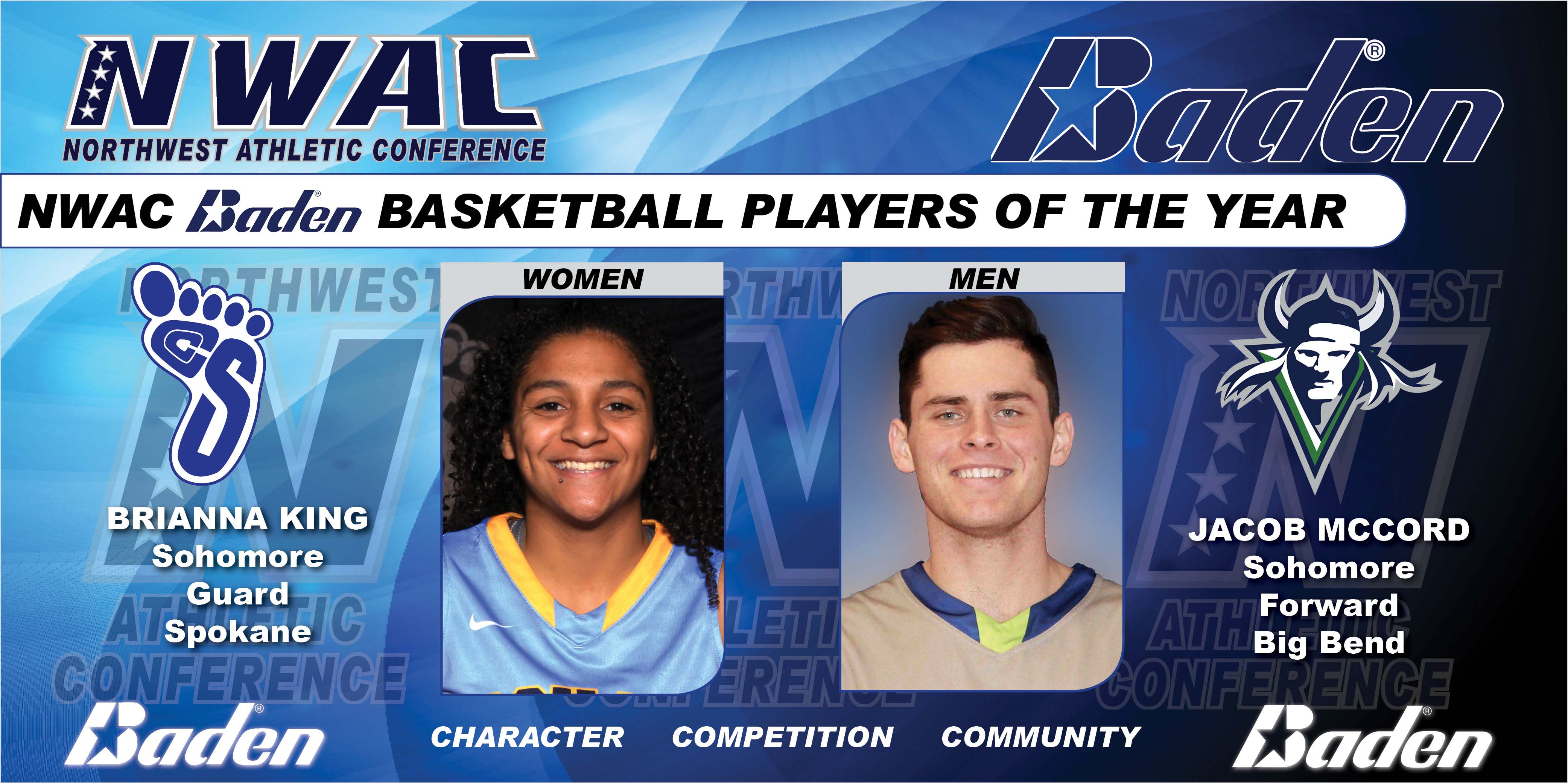 Baden NWAC Basketball  Players of the Year graphic