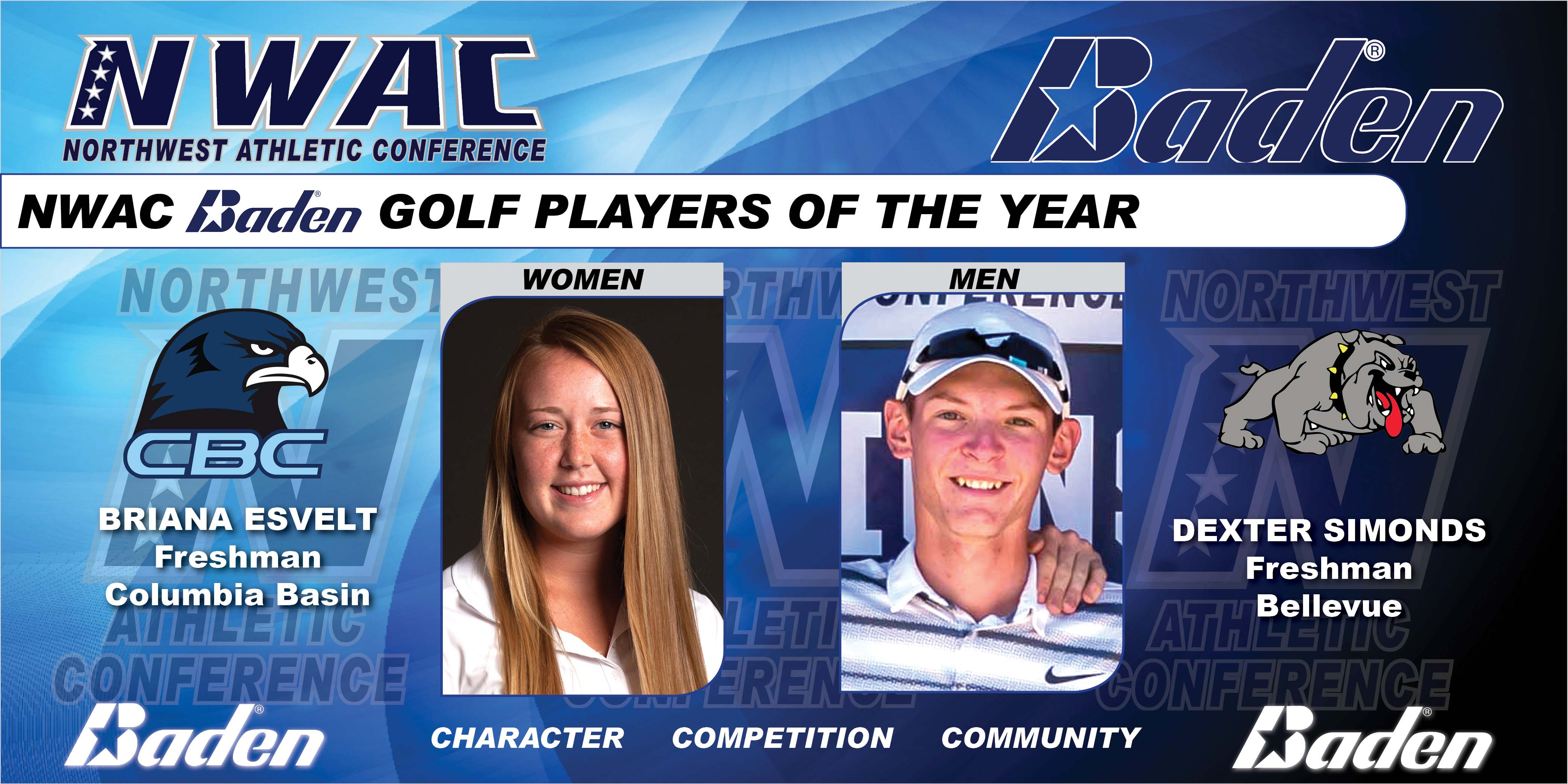 Photo graphic of Baden Golf POYs Brianna Esvelt and Dexter Simonds
