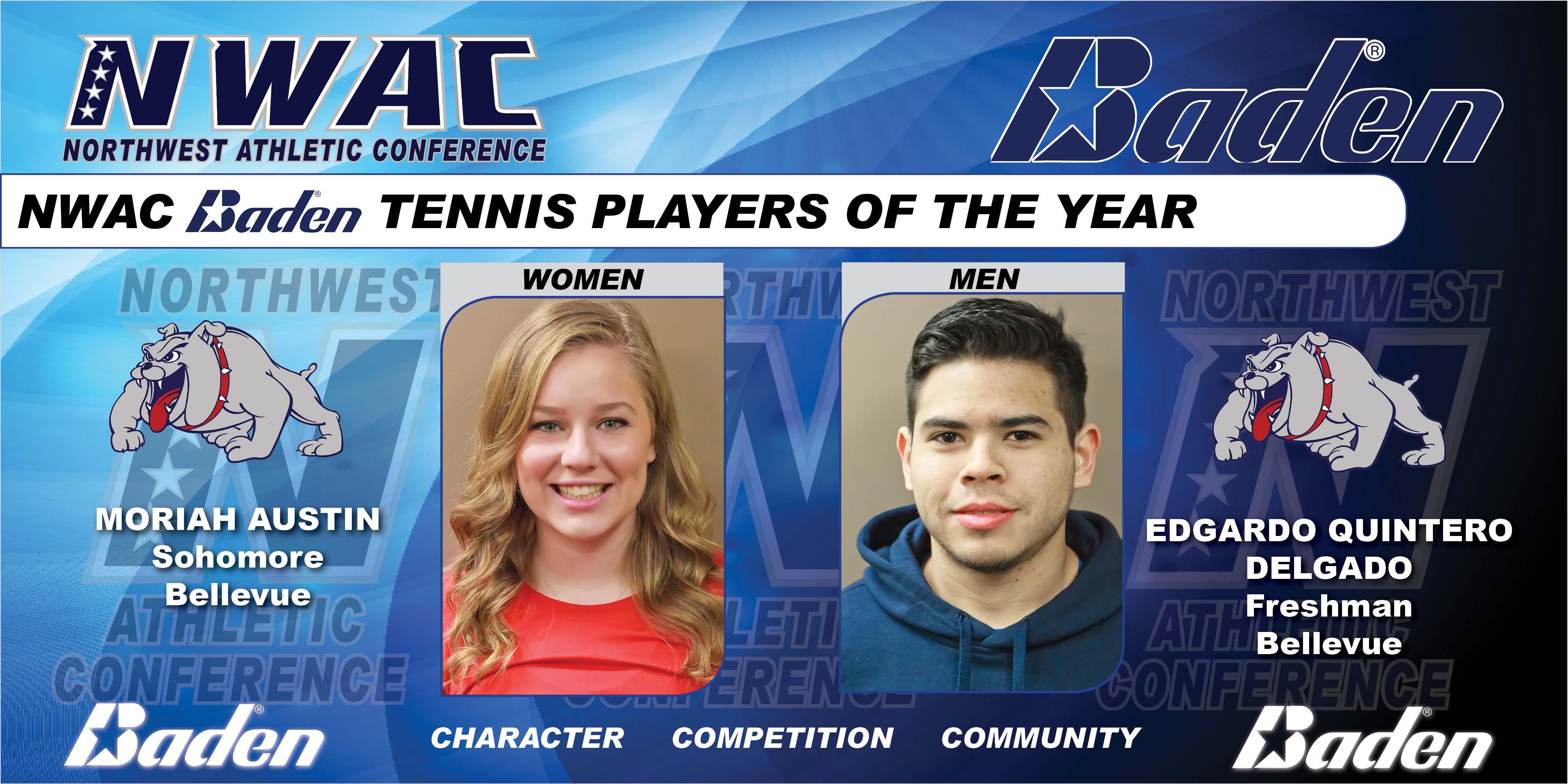 Photo graphic of Baden Tennis POYs Moriah Austin and Edgardo Quintero Delgado