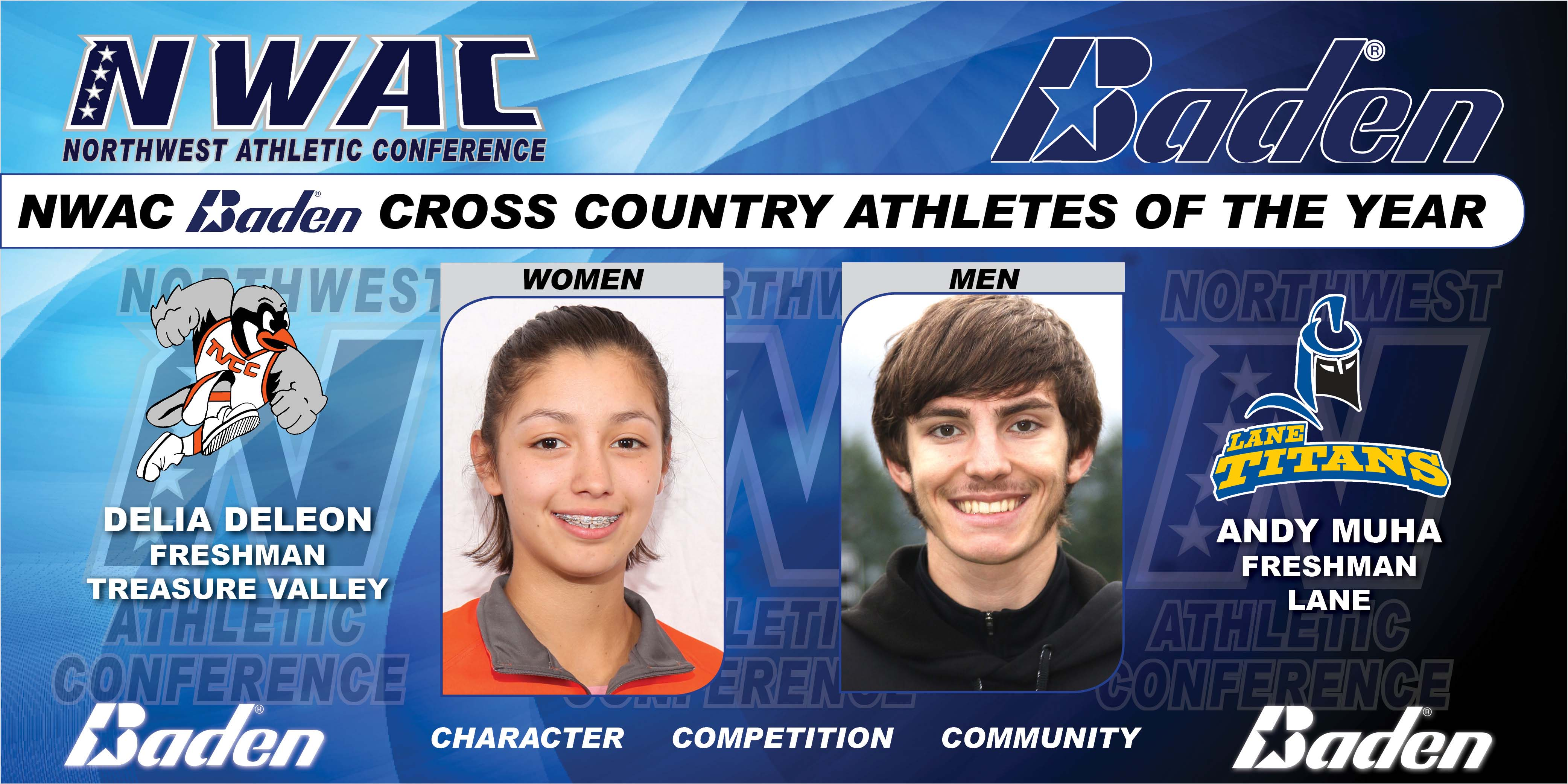 Delia DeLeon and Andy Muha Baden Soccer Cross Country Athletes of the Year Graphic