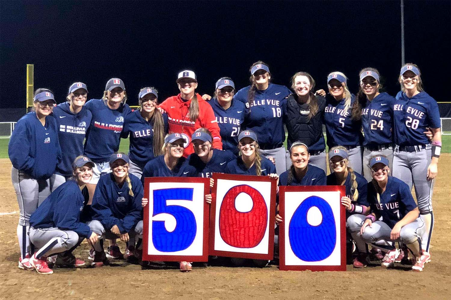 image of Bellevue team posing with Leah Francis with '500' sign