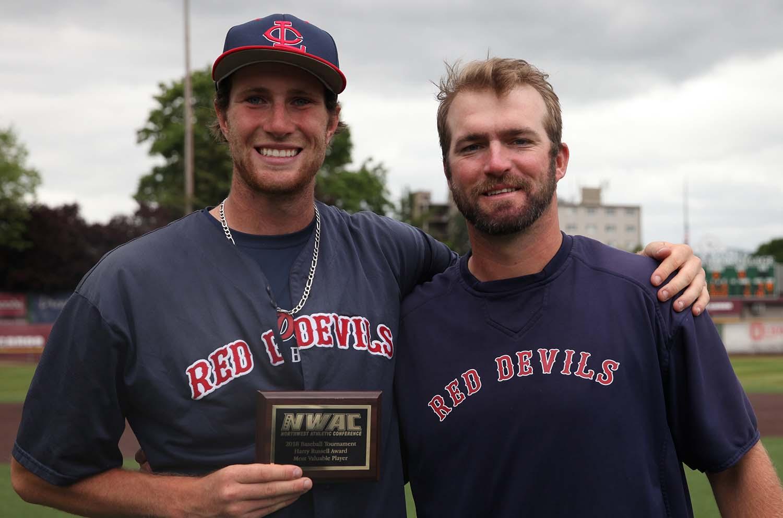MVP Jared Akin and Coach of the Year Eric Lane