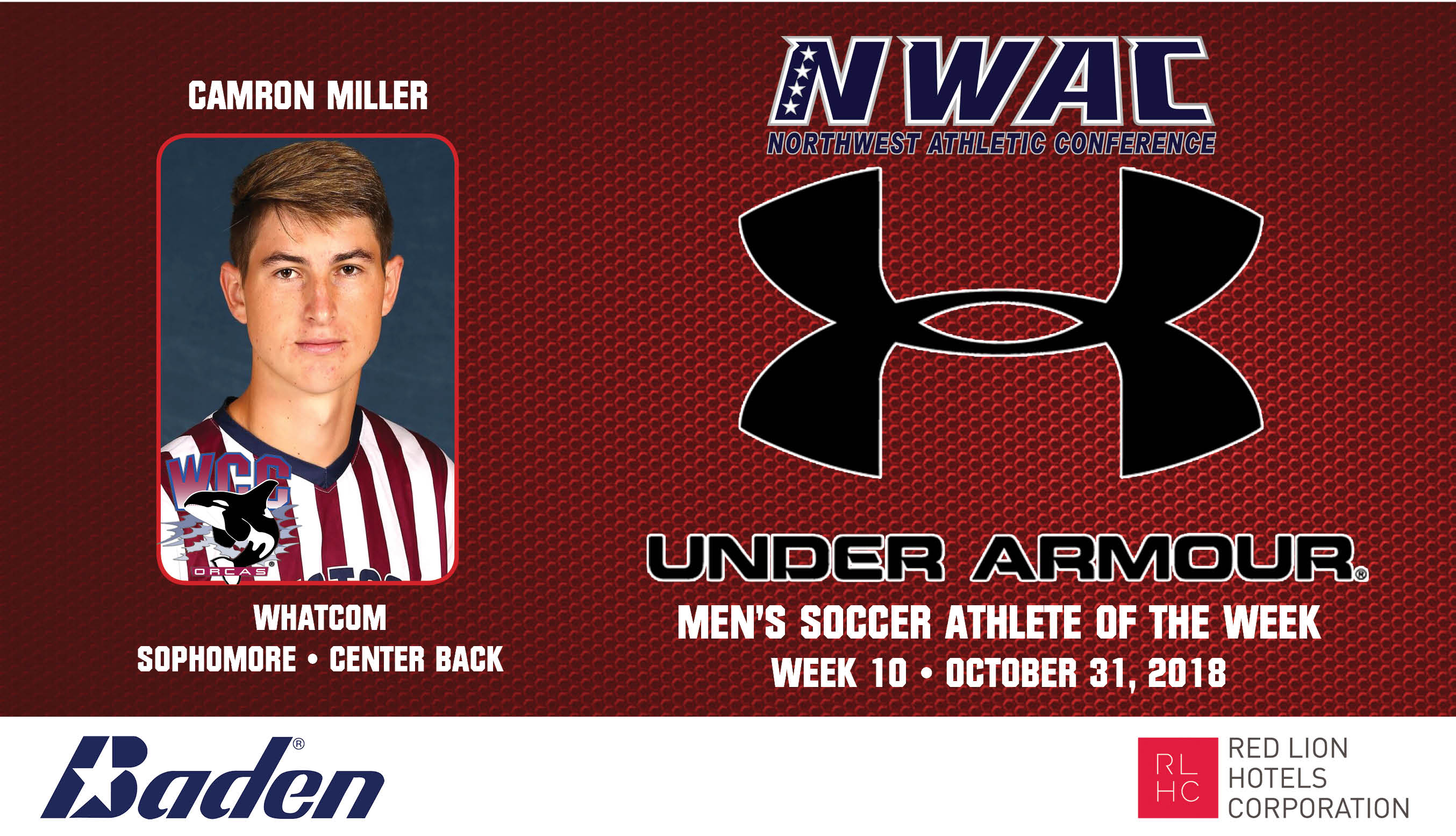 Camron Miller Armour Player of the Week graphic