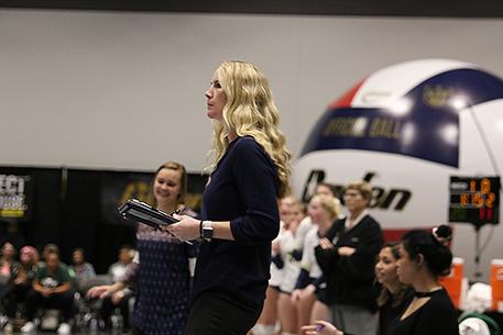 image of Jenni Rosselli-Hull coaching during NWAC Championship match