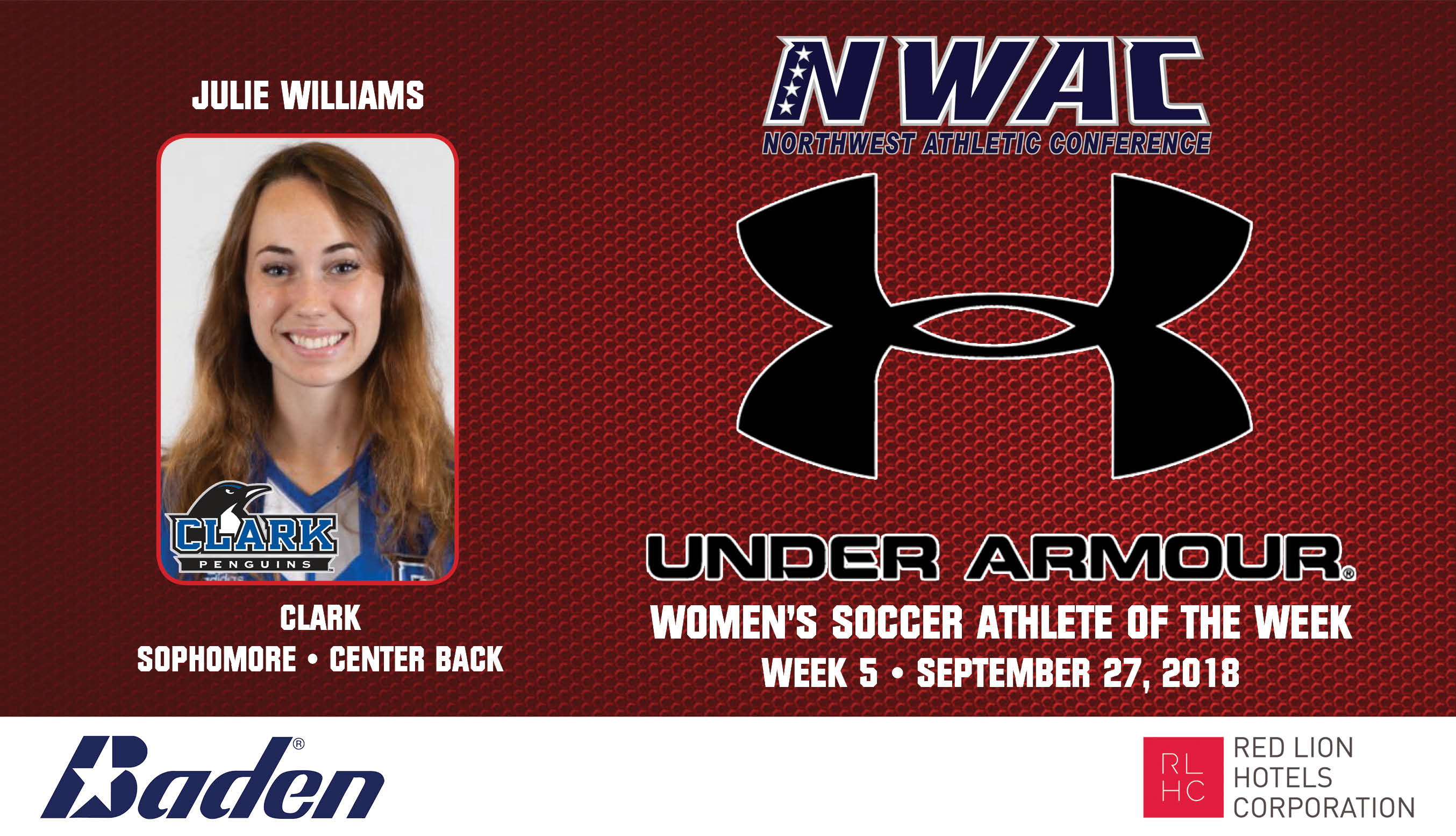 Julie Williams Armour Player of the Week graphic