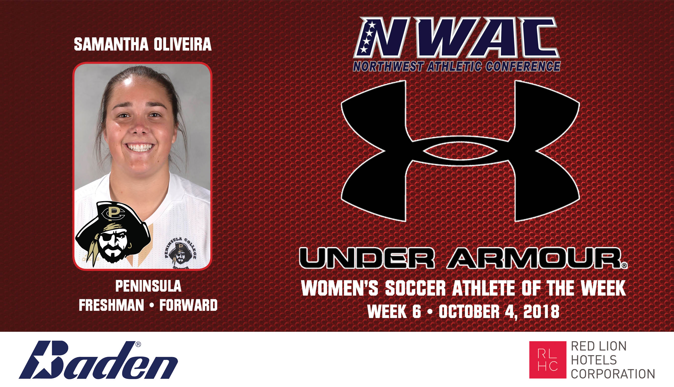 Samantha Oliveira Armour Player of the Week graphic